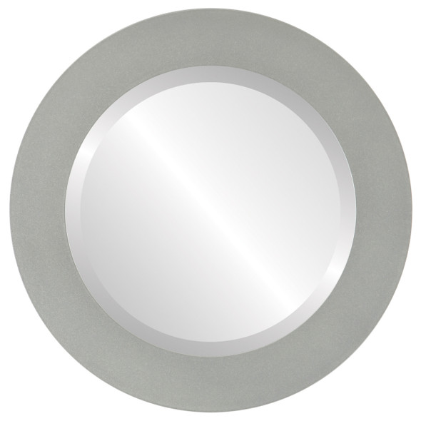 Beveled Mirror - Soho Round Frame - Bright Silver