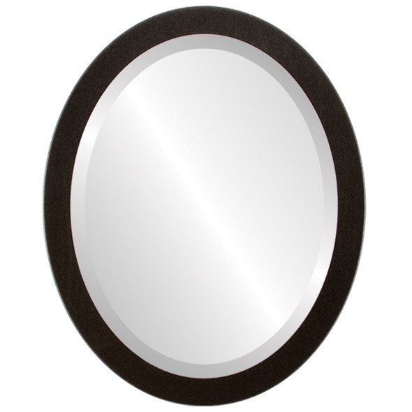 Beveled Mirror - Manhattan Oval Frame - Black Silver