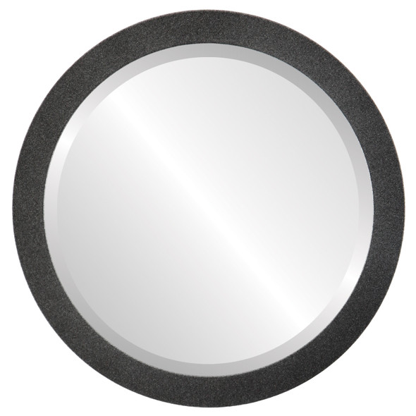 Beveled Mirror - Manhattan Round Frame - Black Silver
