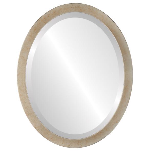 Beveled Mirror - Manhattan Oval Frame - Burnished Silver