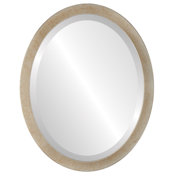 Beveled Mirror - Manhattan Oval Frame - Burnished Silver