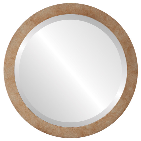 Beveled Mirror - Manhattan Round Frame - Burnished Silver