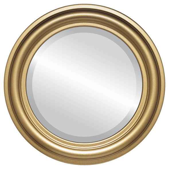 Beveled Mirror - Philadelphia Round Frame - Gold Spray