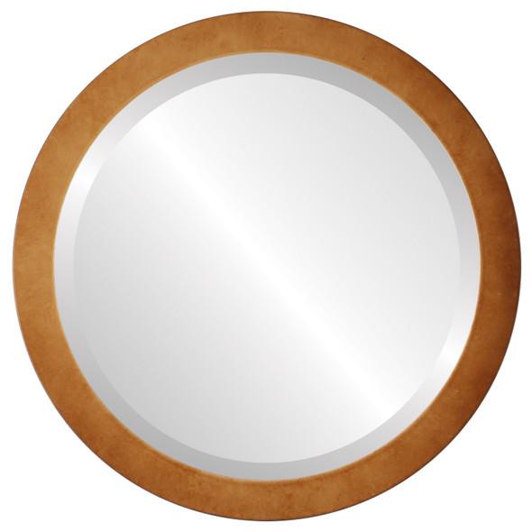 Beveled Mirror - Manhattan Round Frame - Burnished Gold
