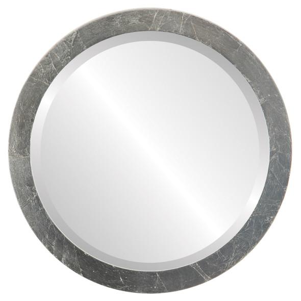 Beveled Mirror - Manhattan Round Frame - Silver Leaf with Brown Antique