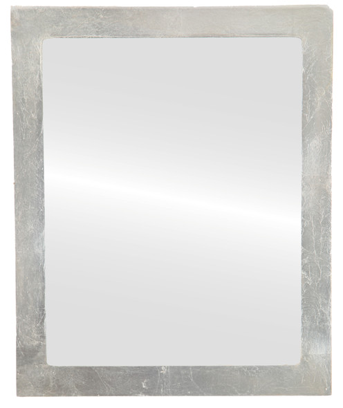 Flat Mirror - Manhattan Rectangle Frame - Silver Leaf with Brown Antique