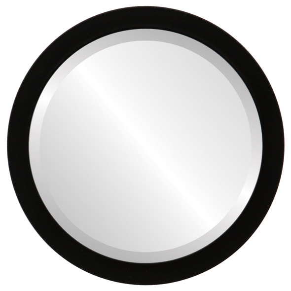 Beveled Mirror - Manhattan Round Frame - Matte Black