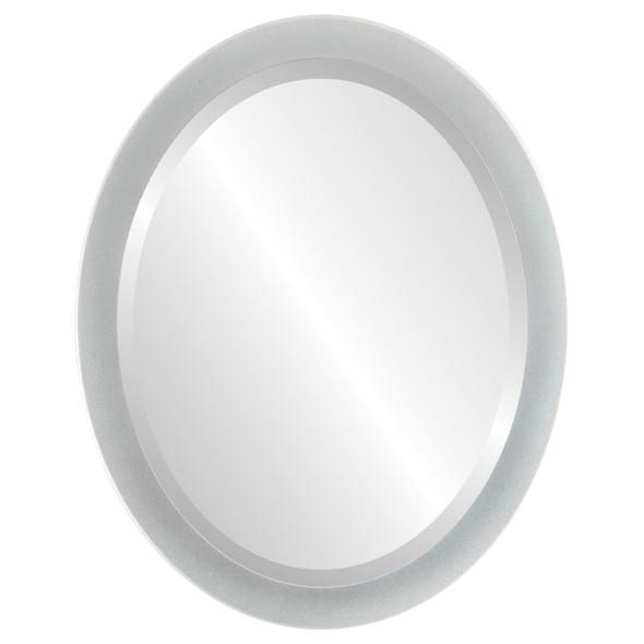 Beveled Mirror - Manhattan Oval Frame - Bright Silver