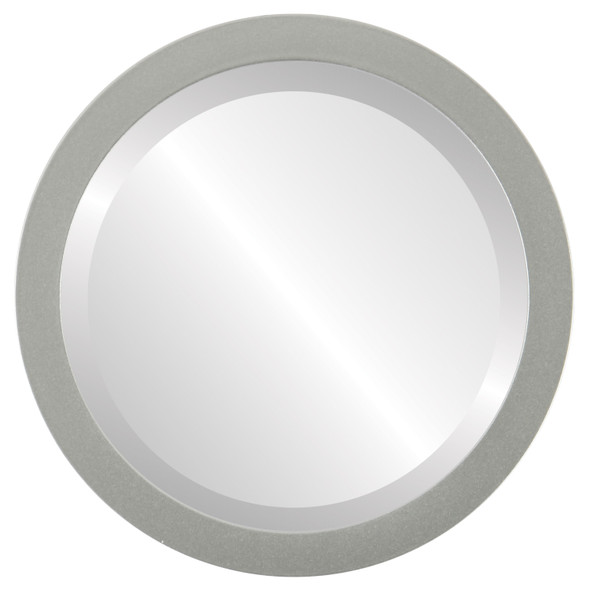 Beveled Mirror - Manhattan Round Frame - Bright Silver