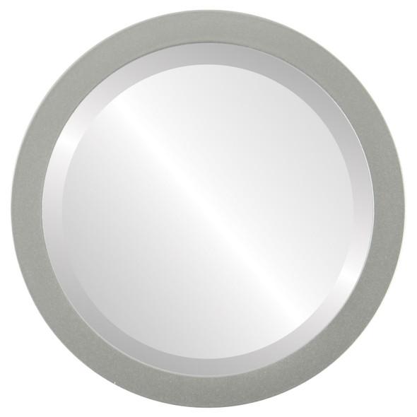 Beveled Mirror - Manhattan Round Frame - Bright Silver