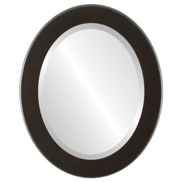 Beveled Mirror - Avenue Oval Frame - Black Silver
