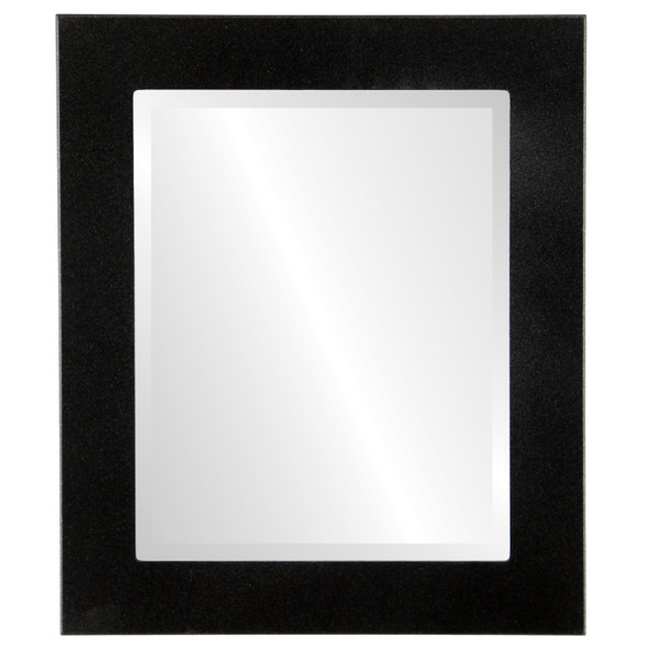 Beveled Mirror - Avenue Rectangle Frame - Black Silver