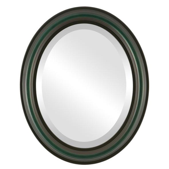Beveled Mirror - Philadelphia Oval Frame - Hunter Green