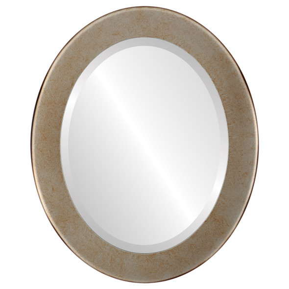 Beveled Mirror - Avenue Oval Frame - Burnished Silver