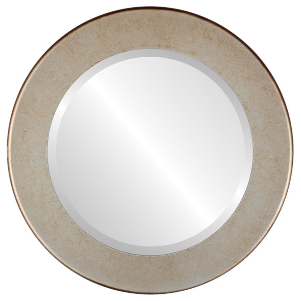 Beveled Mirror - Avenue Round Frame - Burnished Silver