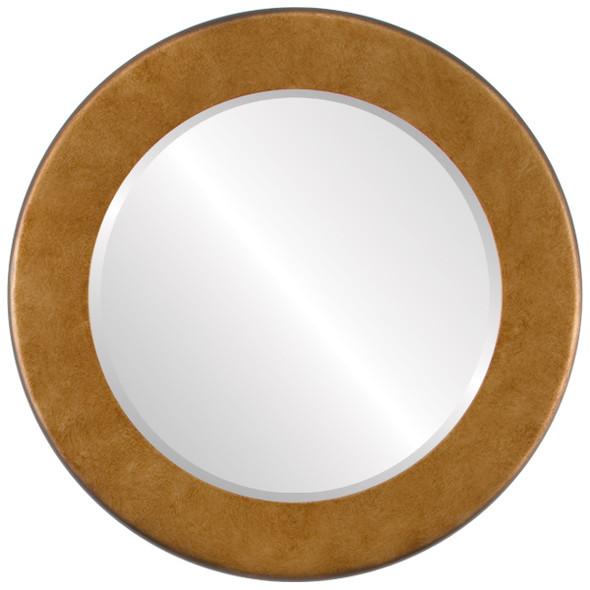 Beveled Mirror - Avenue Round Frame - Burnished Gold