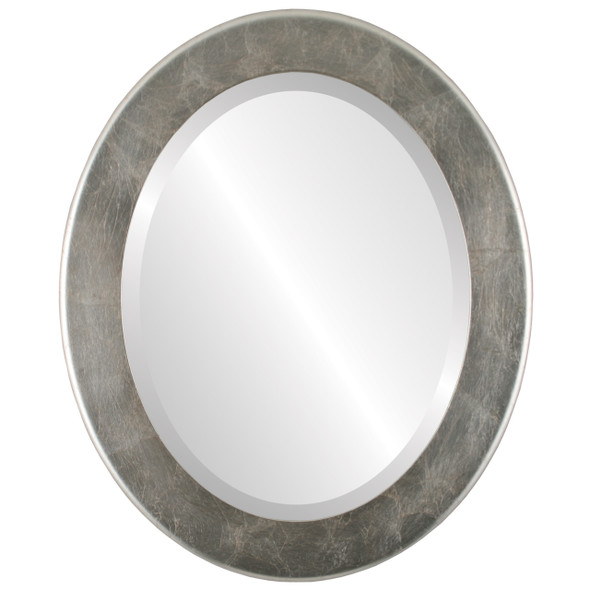Beveled Mirror - Avenue Oval Frame - Silver Leaf with Brown Antique