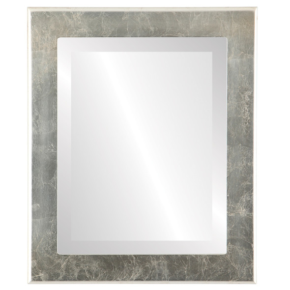 Beveled Mirror - Avenue Rectangle Frame - Silver Leaf with Brown Antique