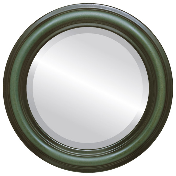 Beveled Mirror - Philadelphia Round Frame - Hunter Green