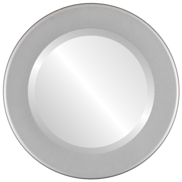 Beveled Mirror - Avenue Round Frame - Bright Silver