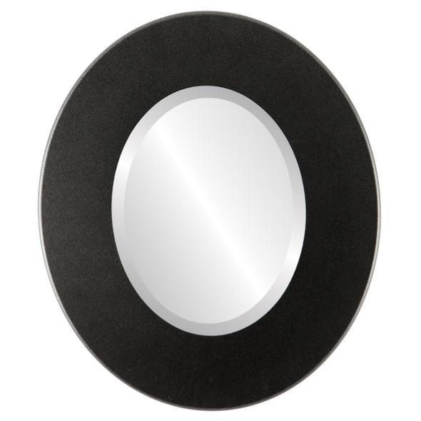 Beveled Mirror - Boulevard Oval Frame - Black Silver