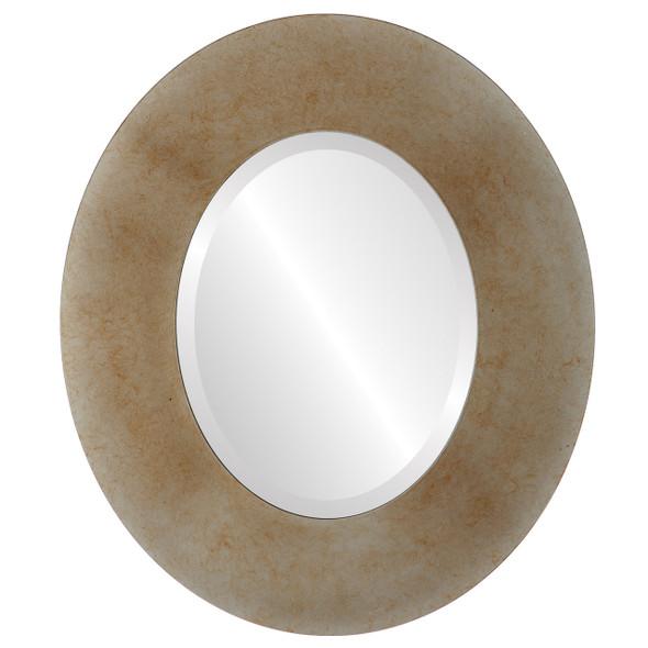 Beveled Mirror - Boulevard Oval Frame - Burnished Silver