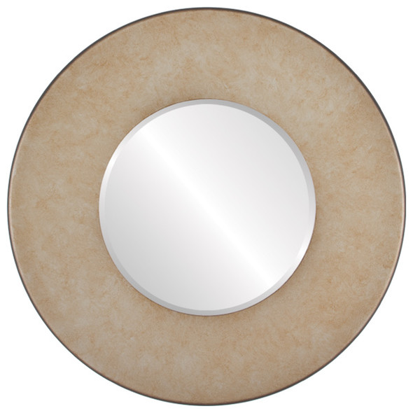 Beveled Mirror - Boulevard Round Frame - Burnished Silver