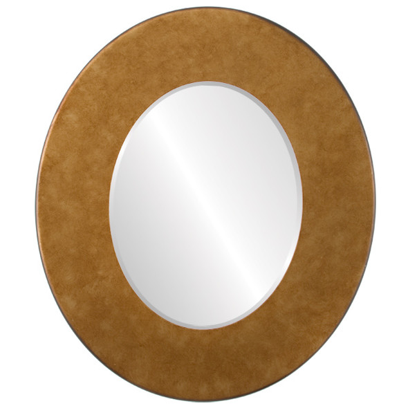 Beveled Mirror - Boulevard Oval Frame - Burnished Gold
