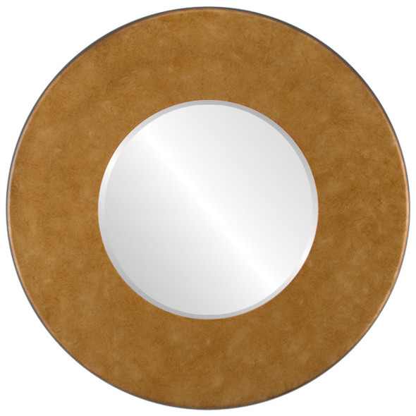 Beveled Mirror - Boulevard Round Frame - Burnished Gold
