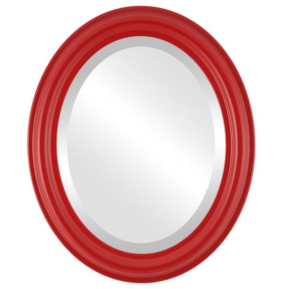 Beveled Mirror - Philadelphia Oval Frame - Holiday Red