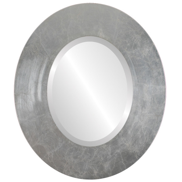 Beveled Mirror - Boulevard Oval Frame - Silver Leaf with Brown Antique