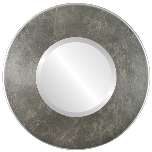 Beveled Mirror - Boulevard Round Frame - Silver Leaf with Brown Antique