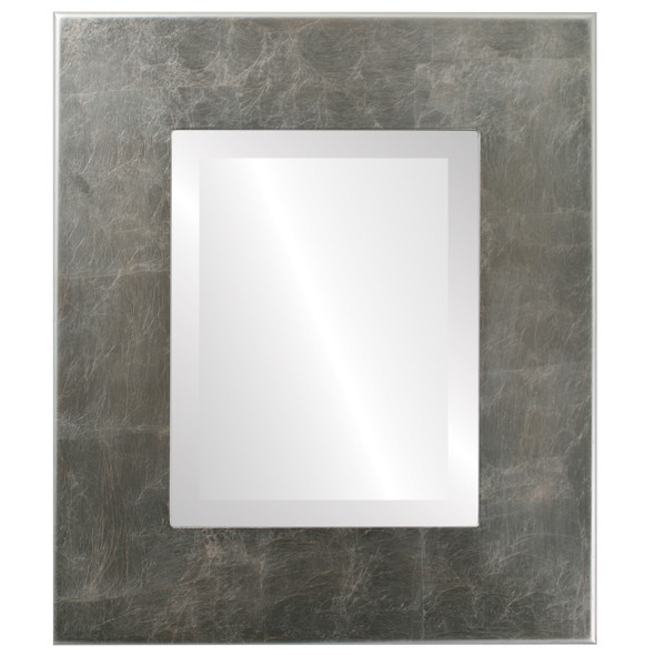 Beveled Mirror - Boulevard Rectangle Frame - Silver Leaf with Brown Antique