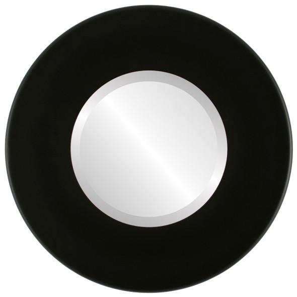 Beveled Mirror - Boulevard Round Frame - Matte Black