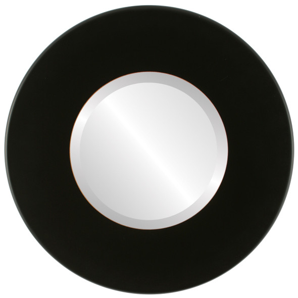 Beveled Mirror - Boulevard Round Frame - Rubbed Black