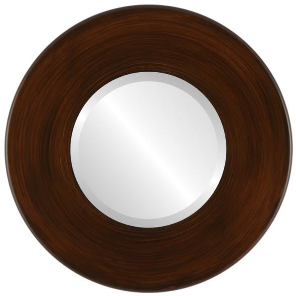 Beveled Mirror - Boulevard Round Frame - Mocha