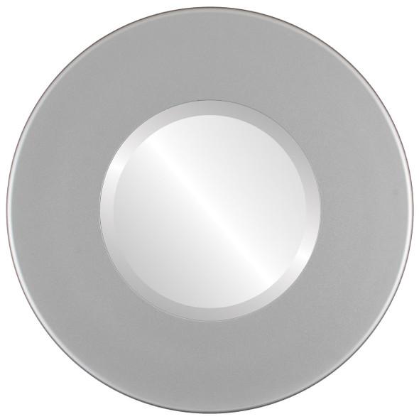 Beveled Mirror - Boulevard Round Frame - Bright Silver