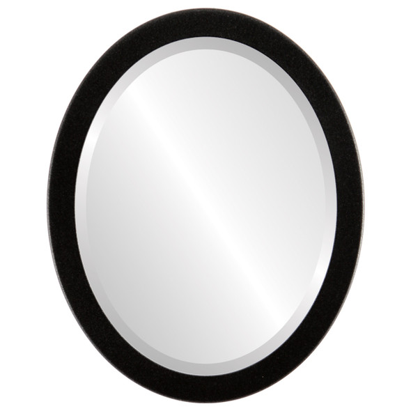 Beveled Mirror - Vienna Oval Frame - Black Silver