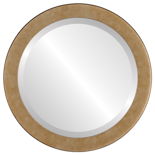 Beveled Mirror - Vienna Round Frame - Burnished Silver