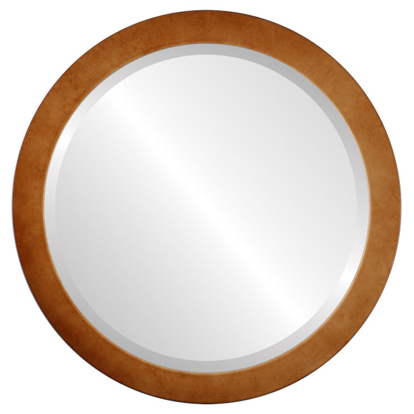 Beveled Mirror - Vienna Round Frame - Burnished Gold