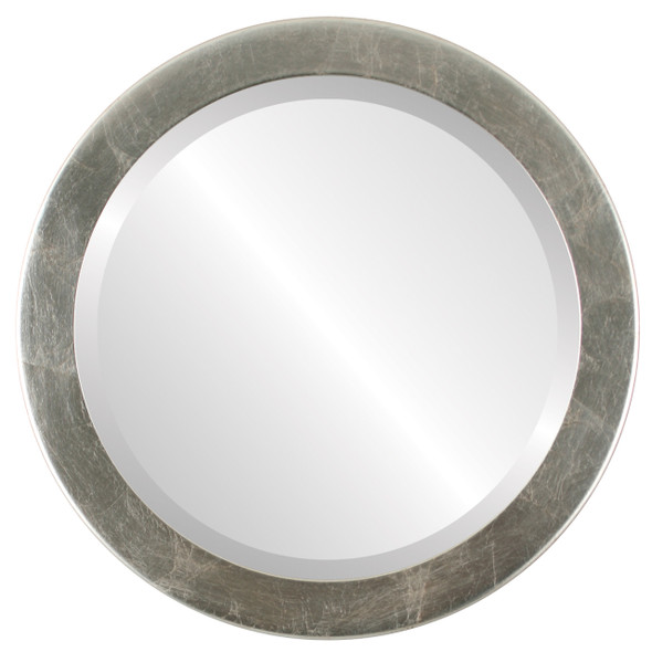 Beveled Mirror - Vienna Round Frame - Silver Leaf with Brown Antique