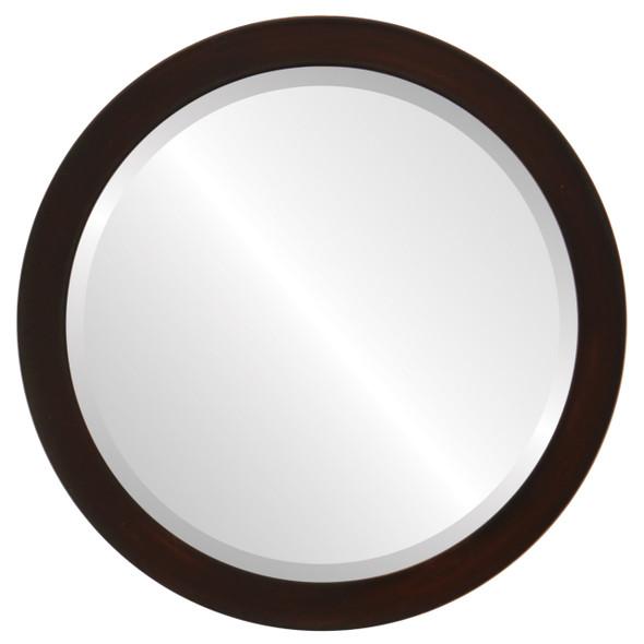 Beveled Mirror - Vienna Round Frame - Mocha