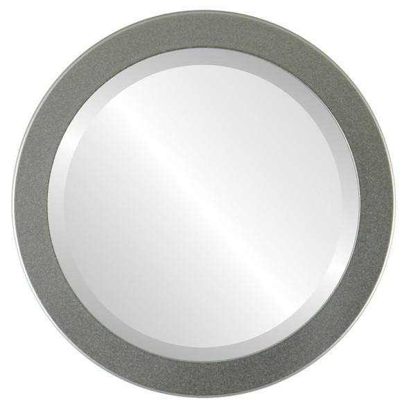 Beveled Mirror - Vienna Round Frame - Bright Silver