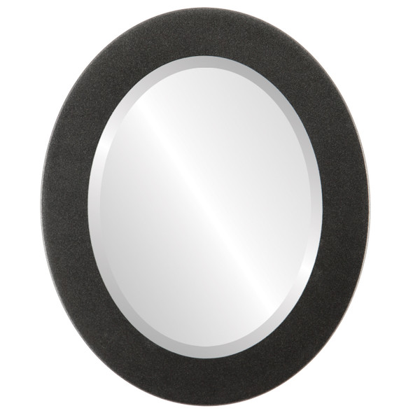 Beveled Mirror - Cafe Oval Frame - Black Silver