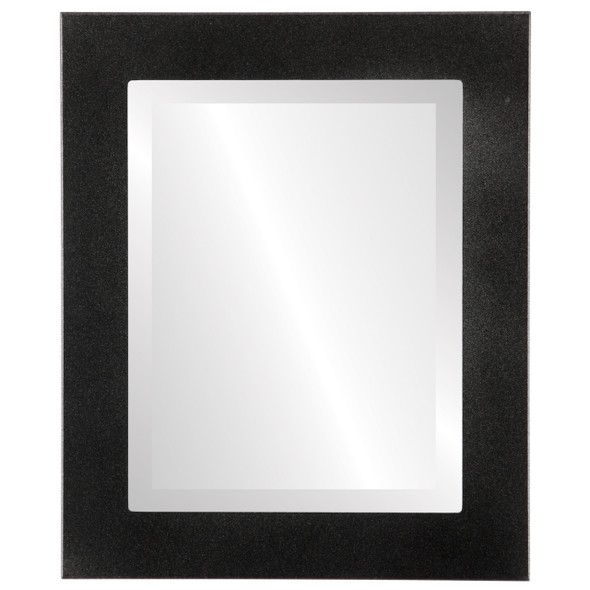 Beveled Mirror - Cafe Rectangle Frame - Black Silver
