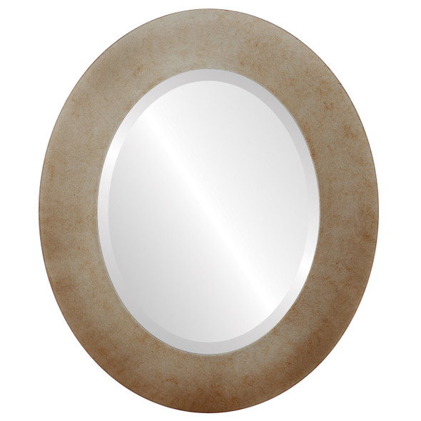 Beveled Mirror - Cafe Oval Frame - Burnished Silver