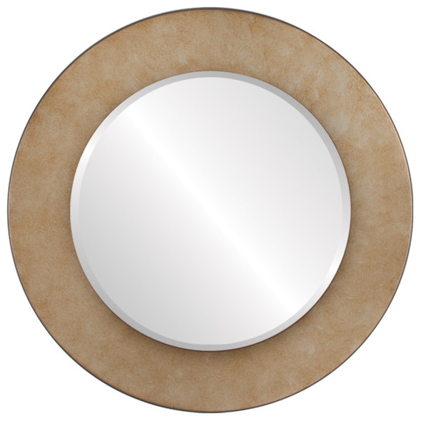 Beveled Mirror - Cafe Round Frame - Burnished Silver