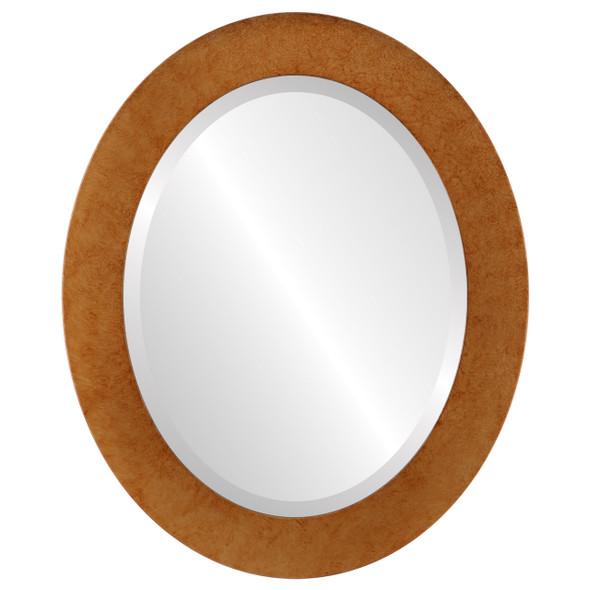 Beveled Mirror - Cafe Oval Frame - Burnished Gold