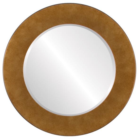 Beveled Mirror - Cafe Round Frame - Burnished Gold