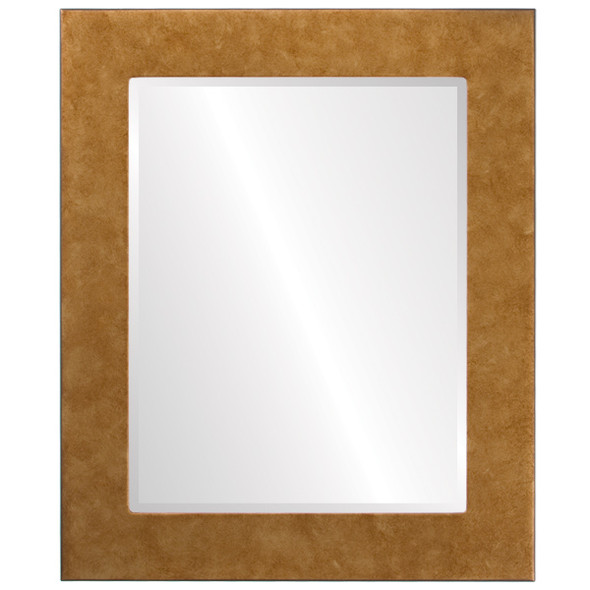 Beveled Mirror - Cafe Rectangle Frame - Burnished Gold